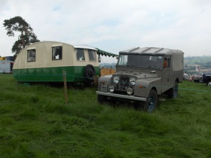 Series 1 land Rover and period caravan at Three Cocks Vintage 2012